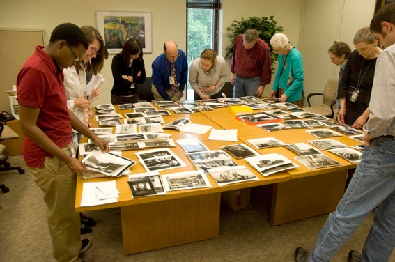 Library of Congress Staff viewing the Ernest Bloch prints.